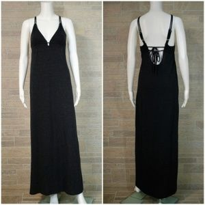 Chaser Charcoal Black Strappy Tie Back Maxi Dress